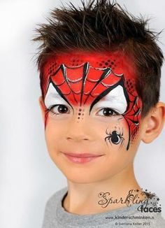 Simple face painting designs are not hard. Many people think that in order to have a great face painting creation, they have to use complex designs, rather then simple face painting designs. Face Painting Tutorials, Face Painting Designs, Paint Designs, Superhero Face Painting, Face Painting For Boys, Facial Painting, Body Painting, Spider Man Face Paint, Makeup Ideas