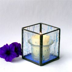 Stained Glass Votive Candle Holder - Blue Confetti. Starting at $12 on Tophatter.com!