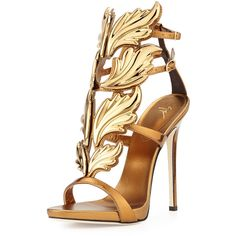 Giuseppe Zanotti Shooting Flame Leather Sandal (2,425 CAD) ❤ liked on Polyvore featuring shoes, sandals, heels, high heels, sapatos, bronze, leather high heel shoes, giuseppe zanotti, leather sandals and heeled sandals
