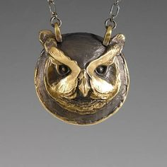 Owl Jewelry, Animal totem Jewelry, Handcrafted Bronze great horned owl