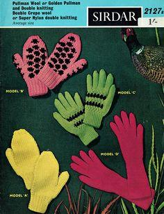 PDF Vintage 1960s Womens Ladies Knitting Pattern Gloves Ladies Gloves, Knitted Gloves, Striped Knit, Vintage Knitting, Hand Warmers, Rockabilly, Mittens, Hawaiian, Opera