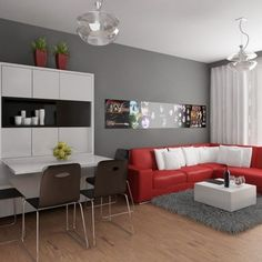 Furniture : Modern living room decorating for apartment with red leather l shaped sofa combine white cushion and grey furry rug also white gloss coffee table and white gloss dining table and black plastic chair - Small Apartment with Sofa Design Collection