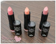 Neutral Lip colors- Pumpkin Pie, Tea Rose, & Thalia Lipsticks from NYX