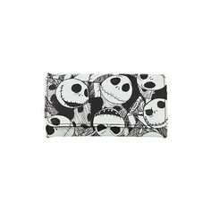 The Nightmare Before Christmas Jack Flap Wallet Hot Topic ($10) ❤ liked on Polyvore featuring bags, wallets, christmas bags, white wallet, white bags and flap wallet