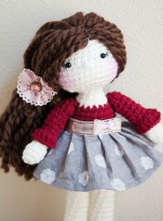 """12"""" Crochet Doll. Ready to ship. Valentine's Day inspired. <3"""