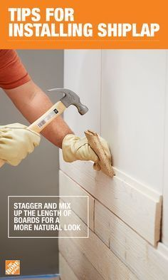 One of the most common mistakes when installing shiplap is cutting all of your boards the same length. To achieve a natural look, make sure to mix up the lengths when measuring, cutting, and placing. For a full DIY shiplap tutorial, click through to The H Hm Deco, Installing Shiplap, Ship Lap Walls, Home Repairs, Diy Home Improvement, Cool Ideas, Natural Looks, Home Projects, Home Remodeling