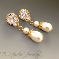 Gold CHARLOTTE Classic Style Teardrop Pearl Drop CZ Crystal Bridal Earrings - Also available in silver or rose gold.    So romantic and classic!