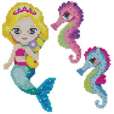 Perler Mini Beads are perfect for creating this sweet mermaid and her pair of seahorses.