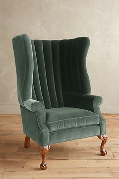Velvet English Fireside Chair
