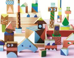 DIY tutorial. How to make colorful wooden blocks | Beci Orpin via Etsy