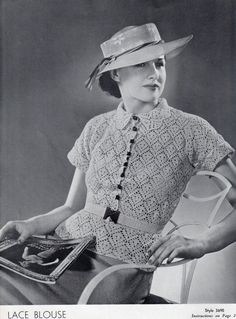 Vintage 1930s Ladies LACE BLOUSE Top Hand Crochet Pattern Instructions PDF Tutorial. $2.50, via Etsy.