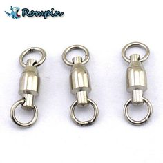 10Pcs/lot Heavy Duty Ball Bearing Stainless Steel Fishing Rolling Swivels Connector Fishing Hook Solid Rings Size 0/1/2/3/4/5#