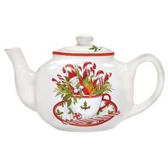 MARY LAKE-THOMPSON 4 Cup Ceramic Teapot Tea Pot HOLIDAY TEACUP   Home & Garden, Kitchen, Dining & Bar, Dinnerware & Serving Dishes   eBay!