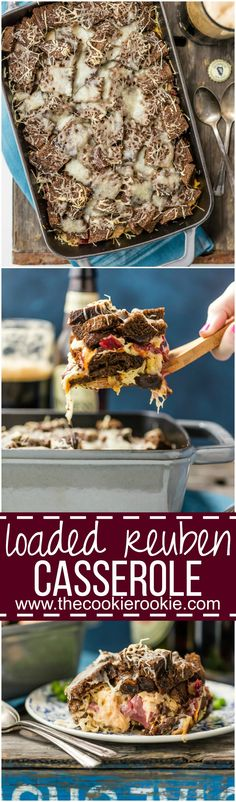 We LOVE this Loaded Reuben Casserole every St. Patrick's Day! Such an easy comfort food recipe loaded with corned beef, rye bread, sauerkraut, swiss cheese, and so much more!