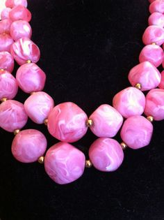 Pink and White Swirled 1950s Vintage Beaded by VintageBaublesnBits, $18.00