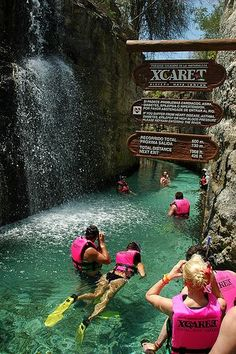 Cancun, Mexico- Xcaret Underground River, one of the coolest things you'll ever do. I did this in cancun mexico Vacation Days, Vacation Places, Dream Vacations, Places To Travel, Places To See, Travel Destinations, Mexico Vacation, Cancun Vacation, Mexico Travel