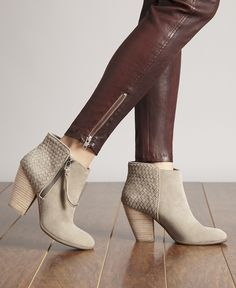 Taupe suede booties with gorgeous woven details along the back