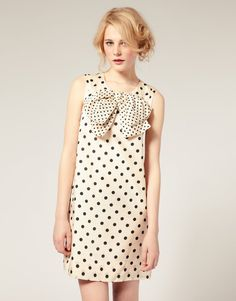 Spotted Sleeveless Dress with Over sized Bow Click the picture to find out more