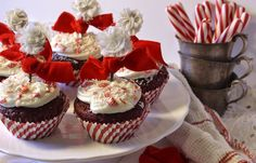 red velvet cupcakes with white chocolate peppermint frosting