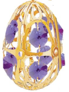 Crystal Egg Ornament - Swarovski Crystals 24k Gold Plated - 7 Color Choices