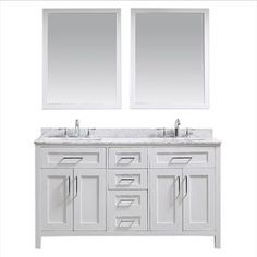 Ove Decors Tahoe White 60-In Undermount Double Sink Birch Bathroom Vanity With Natural Marble Top Mirror Included Tahoe-