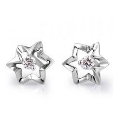 Flower Shape Diamond Earrings on 14K White Gold
