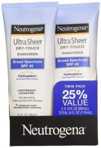Neutrogena Ultra Sheer SPF 45 Twin Pack Ounce Twin Pack Value Helioplex(R) Broad Spectrum UVA/UVB Lightweight Clean Feel, Fast Absorbing Water Resistant Minutes) Dermatologist Recommended Suncare Wear Sunscreen, Sunscreen For Sensitive Skin, Best Sunscreens, Broad Spectrum Sunscreen, Sun Care, Face Care, Travel Size Products
