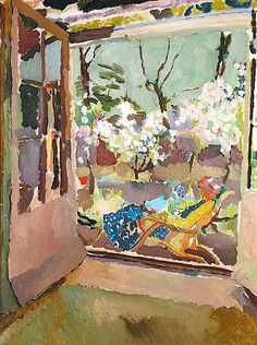 Painting of Vanessa Bell at home in Charleston, Sussex, 1919 - Duncan Grant (British, Bloomsbury Group Duncan Grant, Duncan James, Vanessa Bell, Dora Carrington, Virginia Woolf, Bloomsbury Group, Charleston Homes, Les Oeuvres, Van Gogh
