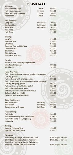 Riu Santa Fe Renova Spa Price List  Renova Spa