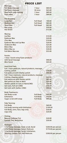 Riu Santa Fe Renova Spa Price List  Renova Spa