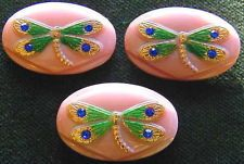 3 Czech Glass RHINESTONE Buttons #A497 - LARGE PINK DRAGONFLY-WOW!!!!!!