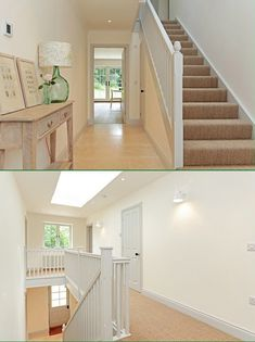 A straight flight of stairs featuring a bullnose step and return balustrade on the landing. Manufactured in softwood with a contemporary, white primed finish. Curved Staircase, Stair Railing, Oak Stairs, Painted Stairs, Banisters, White Oak, Front Doors, Glass Panels, Ideas Para