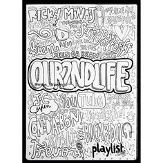 Collage drawing of Youtube's 'our2ndlife' channel ($5.72) ❤ liked on Polyvore featuring o2l, fillers, icons, backgrounds and other