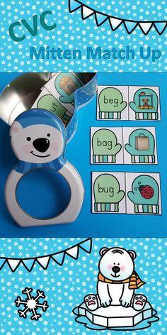 Make Winter Bear-able for Your Little Learners with CVC Mitten Match Up!  $   #winter  #phonics   #literacycenters  #mitten #CVC #CVCwords  #kampkindergarten  https://www.teacherspayteachers.com/Product/Winter-CVC-Mitten-Match-Up-2935683