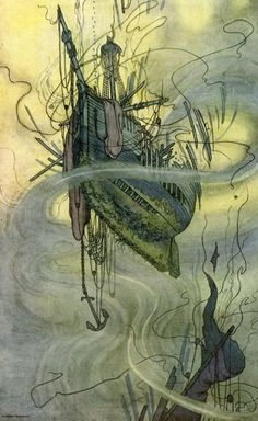 """""""The wrecks dissolve above us."""" Illustration of the Rudyard Kipling poem, """"The Deep-Sea Cables"""" (from """"A Song of The English"""") by William Heath Robinson (1909)."""