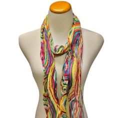 Pink Blue & Yellow Swirl Printed Long Crinkled Lightweight Scarf Luxury Divas. $11.99