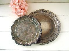 Vintage Pair of Silver Plate Ornate Round by WillowsEndCottage