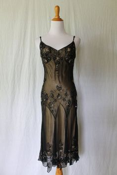 Adrianna Papell Silk Sequined Beaded 1920's 30s Flapper Gatsby Deco dress gown 4 #AdriannaPapell #AsymmetricalHem #Formal