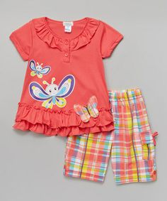 Love this Coral Butterfly Top & Plaid Shorts - Infant, Toddler & Girls on #zulily! #zulilyfinds