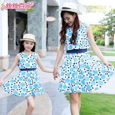 Family fashion summer 2015 summer female child sleeveless one-piece dress family fashion clothes for mother and daughter family