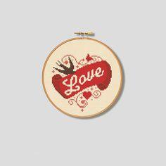 Love Bird Cross Stitch Pattern Vintage (Digital Format - PDF)