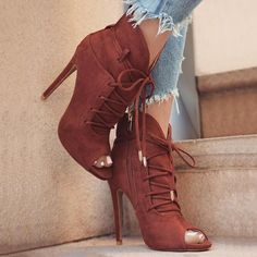 Solid Lace-up Open Toe High-heeled Pumps