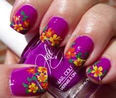 Tropical flower nail art for summer using JulieG nail polish in Fierce and Fab