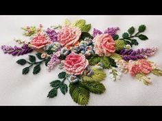 Wonderful Ribbon Embroidery Flowers by Hand Ideas. Enchanting Ribbon Embroidery Flowers by Hand Ideas. Brazilian Embroidery Stitches, Basic Embroidery Stitches, Hand Embroidery Flowers, Hand Embroidery Tutorial, Hardanger Embroidery, Simple Embroidery, Learn Embroidery, Japanese Embroidery, Silk Ribbon Embroidery