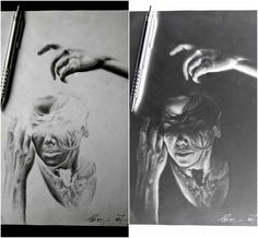 Inspired by Natalia Drepina #nataliadrepina #art #artwork #girl #black #white #blackandwhite #nagativeart negative