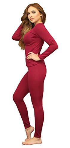 Women's Thermal Underwear - Womens Ultra Soft Thermal Underwear Long Johns Set with Fleece Lined ** Want to know more, click on the image.