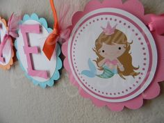 Little Princess Mermaid Birthday Party Name by sweetheartpartyshop