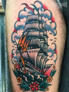 BURNOUT INK : Clipper Ship Tattoo by Christian Otto, BURNOUT INK TATTOO PARLOUR, Palma de Mallorca ,Spain