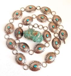 "Old 38 3/4"" Sterling Native American Navajo Turquoise Concho Belt ~Stover Paul~ #Handmade"