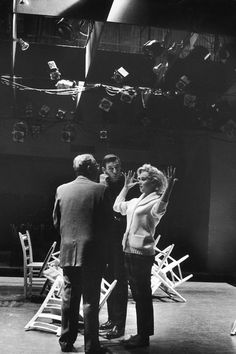 Marilyn Monroe With director George Cukor and Yves Montand on the set of Let's Make Love